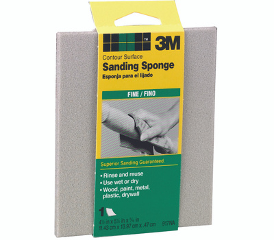 3M 917 Wet Dry Contour Surface Sanding Sponge 4-1/2 By 5-1/2 By 3/16 Inch Fine