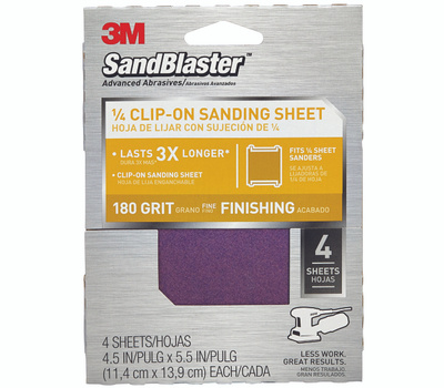 3M 9662SB-ES Sand Blaster Palm Sander Sheets Clip On 4-1/2 Inch By 5-1/2 Inch 180 Grit, 4 Pack