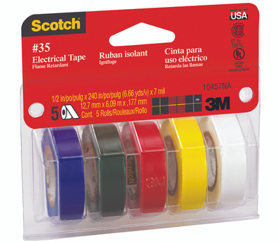3M 10457 Scotch Electrical Tape Assorted Colors 1/2 Inch By 20 Foot