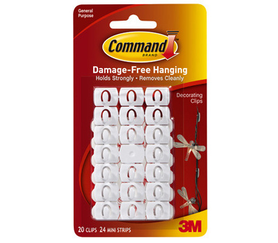 3M 17026 CS Command Decorating Clips With Adhesive, Clear, 20 Pack