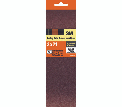 3M 99266 3 By 21 Inch Sanding Belts 50 Grit Coarse 5 Pack