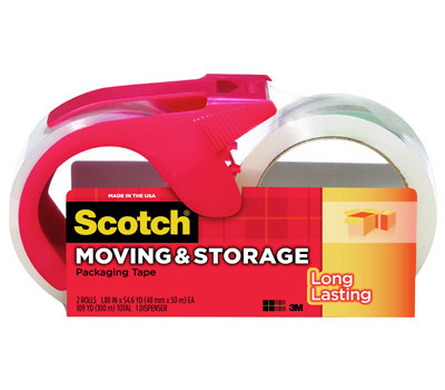 3M 3650 2 1RD Clear Moving And Storage Tape Dispenser Roll Kit