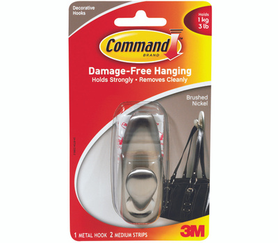 3M FC12-BN Command Decorating Hook, With Adhesive, Medium, Brushed Nickel