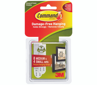 3M 17203 Command Picture Hanging Strips, Small And Medium