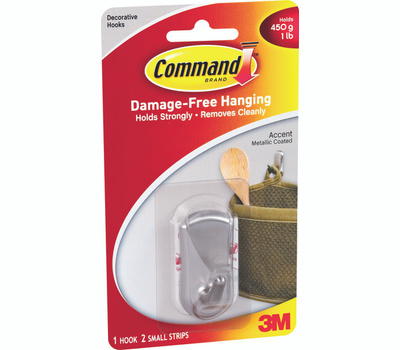 3M 17072BN Command Designer Hook, With Adhesive, Small, Brushed Nickel
