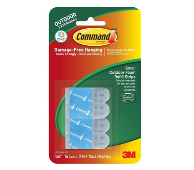 3M 17022AW-ES Command Small Outdoor Foam Refill Strips Pack Of 16