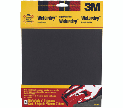 3M 9084 Wet or Dry 600 Grit, 9 Inch By 11 Inch, Waterproof Silicone Carbide Sandpaper, 5 Pack