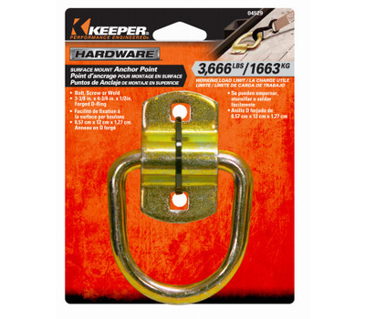 Keeper 89318 5//8 Weld-On Surface Mount D-Ring Anchor