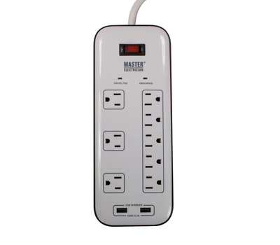 Prime Wire ME923120 Master Electrician White 8 Outlet Surge Protector