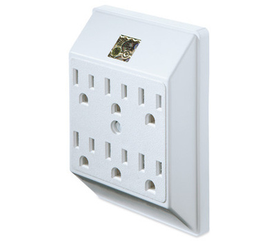 Uninex PS23U-WH Master Electrician 6 Outlet White Grounded Polarized Wall Tap