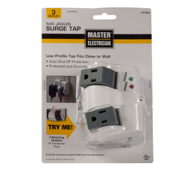 Prime Wire ME905103 Master Electrician 3 Outlet Rotating Surge Tap