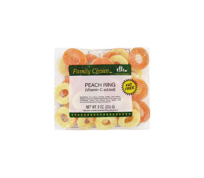 Ruckers Candy 1129 Family Choice Peach Rings 7 Oz Bag