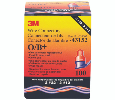 3M O/B Wire Connector Twist On Wing Design 3 Awg Blue And Orange