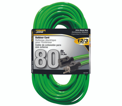 Power Zone ORN512833 Extension Cord 12/3 80 Foot Neon Green
