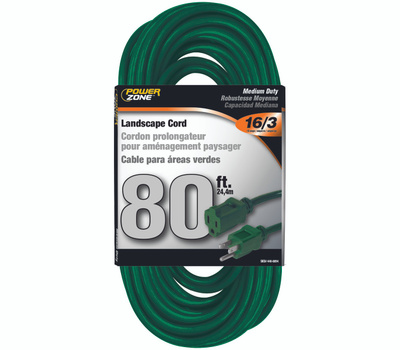 Power Zone OR880633 Outdoor Extension Cord 16/3 80 Foot Green
