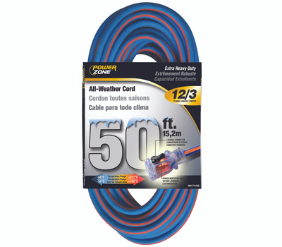 Power Zone ORC530830 Cord Ext 12/3X50ft Blu/Org Stp