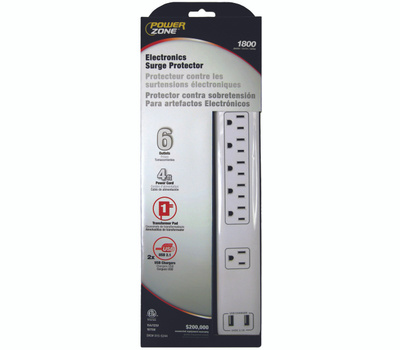 Power Zone OR525106 Strip Surge 6Out 1800J 4Ft Wht