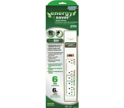 Power Zone ORES1016 Energy Saver 2160 Joules 6 Outlet Surge Protector White 6 Foot Cord