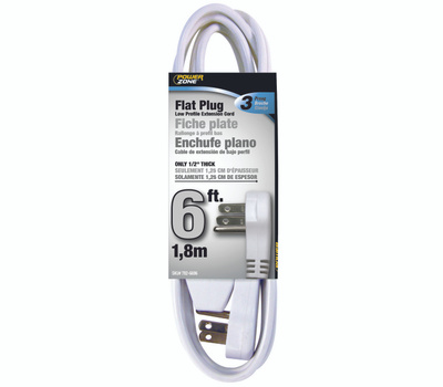 Power Zone OR930606 Cord Ext Indr 3Out16/3X6ft Wht