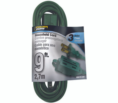 Power Zone OR780609 Extension Cord 16/2 Spt-2 Green 9 Foot