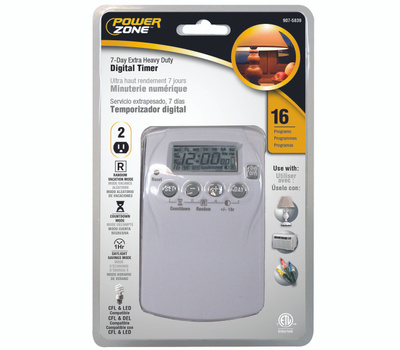 Power Zone TNDHD002 2 Outlet Extra Heavy Duty 7 Day Programmable Digital Timer