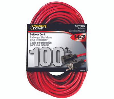 Power Zone OR514735/506735 Cord Ext14/3X100ft Red