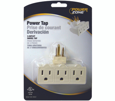 Power Zone OR101100 3 Outlet Swivel Power Tap