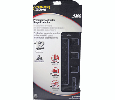 Power Zone OR504142 Surge Protector 12 Outlet Heavy Duty 4200J Black