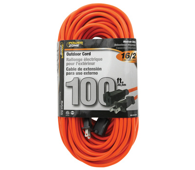 Power Zone OR481635 Cord Ext Otd Org 16/2 100Ft