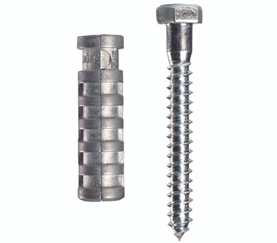 Cobra Anchors 243S Lag Shields 5/16 Inch Short With Lag Bolts 2 Pack