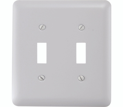AmerTac 935TTW Amerelle Devon Toggle Switch 2 Gang Wall Plate White