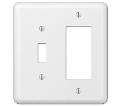 AmerTac 935TRW Amerelle Devon Toggle And Rocker 2 Gang Wall Plate White