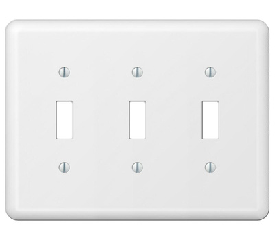 AmerTac 935TTTW Amerelle Devon Toggle Switch 3 Gang Wall Plate White