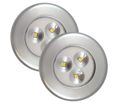 AmerTac 75221S Westek Utility Puck Light Led Silver 2 Pack