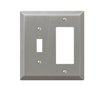 AmerTac 163TRBN Century Rocker And Toggle Wall Plate 2 Gang Brushed Nickel