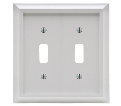 AmerTac 2040TTW Amerelle Deerfield Toggle Switch Wall Plate 2 Gang White Wood