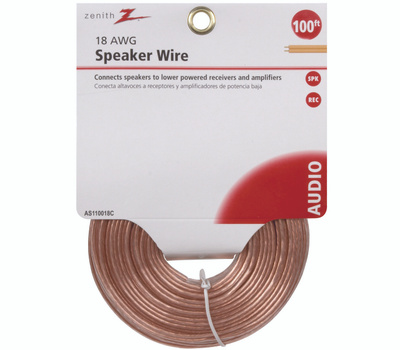 AmerTac AS110018C Zenith Wire Speaker 18Gau 100 Foot Clear