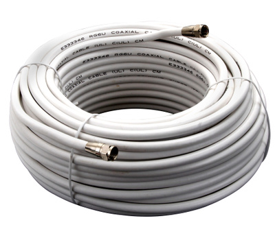 AmerTac VG110006W Zenith Cable Coax RG6 F Connectors 100 Foot White