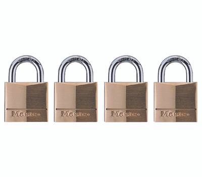 Master Lock 120Q 3/4 Pin Tumbler Brass Padlock Pack Of 4