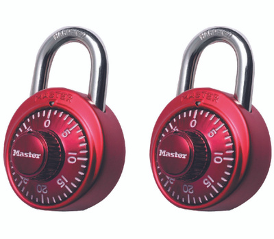 Master Lock 1530T 1-7/8 Combo Assorted Colors 2 Pack