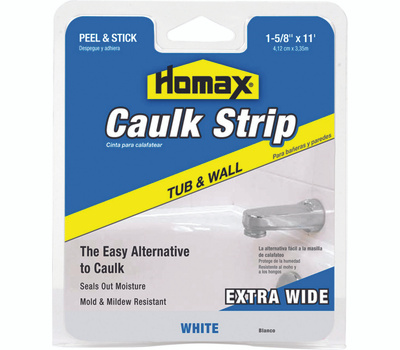 Homax 34040 Myro 1-5/8 Inch By 11 Foot White Tub And Wall Caulkstrip