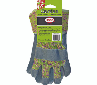 Boss 728 Gardeners Split Leather Palm Gloves Ladies One Size