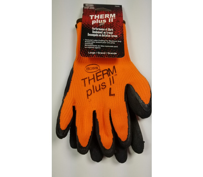 Boss 7843L Therm Plus ll Hi-Viz Orange Work Gloves With Latex Coated Palm Large