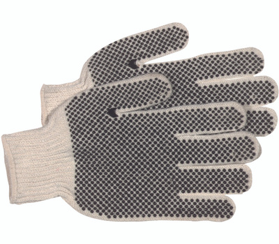 Boss 5522-/-1JP5522B White Knit Reversible Poly Cotton Gloves With PVC Dots Large