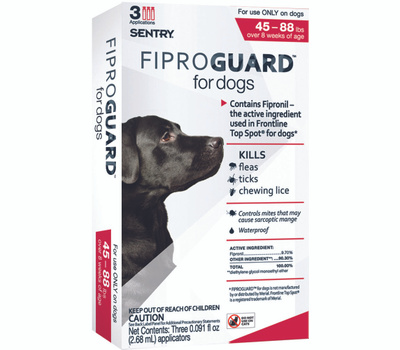 Sergeants 02952 Sentry Fiproguard Flea And Tick Squeeze On For Dogs 45 To 88 Pounds 3 Tubes