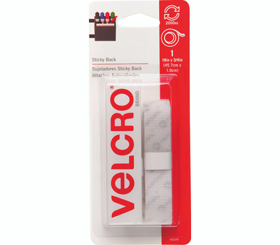 Velcro Brands 90079 Sticky Back General Purpose Water Resistant Hook And Loop Tape 18 Inch By 3/4 Inch White