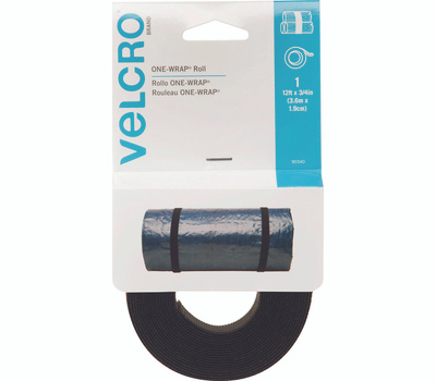 Velcro Brands 90340 One Wrap 12 Foot By 3/4 Inch Black Bundling Strap For Cables Wires & Cords