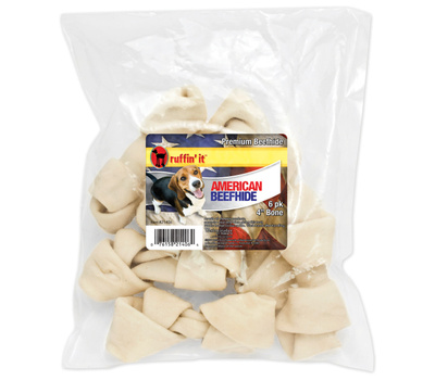Westminster Pet 21406 Ruffin It 4 Inch Premium American Beef Hide Dog Bone Pack Of 6