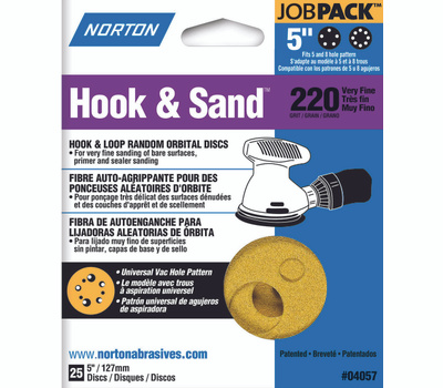 Norton 04057 Hook & Sand 5 Inch Universal 5+8 Hole Hook And Loop Sanding Disc 220 Grit Very Fine 25 Pack