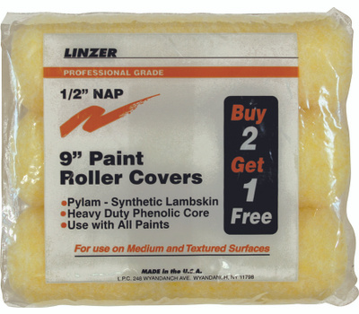 Linzer RS144-9-3 Pylam 9 Inch 1/2 Inch Nap Pylam Roller Covers 3 Pack